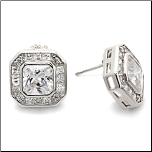 Sterling Silver and CZ Square Earrings