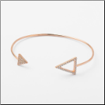Rose Gold Over Sterling Silver CZ Double Arrow Cuff Bangle Bracelet