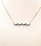 "15+2.5""Rose Gold Vermeil and Turquoise CZ Necklace"
