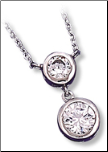 "16+2"" Sterling Silver Double Bezel Set CZ Pendant and Chain"