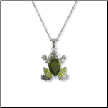 Rhodium Plated Peridot & Olivine CZ Frog Pendant and Chain