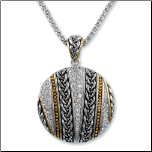 Designer Inspired Two-tone Weave Design CZ Pendant and Chain