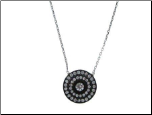 "16+1.5"" Ruthenium Plated Circular Sterling Silver CZ Pendant and Chain"