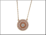 "16+1.5"" Rose Gold Vermeil and CZ  Circular Pendant and Chain"