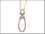 "15+1.5"" Rose Gold Sterling Silver  and Micro-pave CZ Necklace"