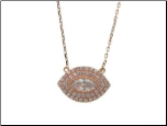 "16+1.5"" Rose Gold Vermeil and CZ Evil Eye Pendant"