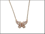 "16+2"" Rose Gold Vermeil and CZ Butterfly Necklace"