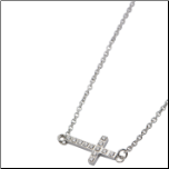 "16 + 2"" Inox Stainless Steel and CZ Sideways Cross Necklace"