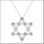 "16"" Kate Bissett Sterling Silver& CZ Star of David Pendant"