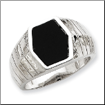 Sterling Silver CZ and Onyx Ring