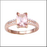 Rose Gold Sterling Silver & Emerald Shaped Created Morganite