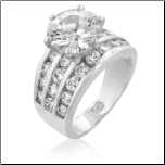 Rhodium Plated 6 Prong 10MM CZ Engagement / Wedding Ring