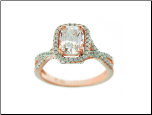 Rose Gold Plated Sterling Silver and Emerald Cut CZ Halo Ring