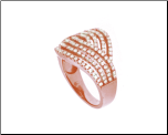 Rose Gold Sterling Silver Micro-pave CZ Cross Over Ring