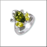 Rhodium Plated Peridot and Olivine Frog Ring
