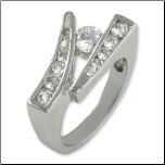 Uniquely Designed Rhodium Plated CZ Ring