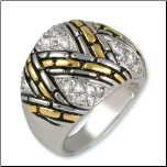 Designer Inspired Antiqued Rhodium Two-tone CZ Dome Ring