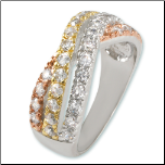 Rhodium Plated Tri-tone Crossover CZ Ring