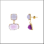 Gold Over Sterling Silver 2 Tone Purple Abstract Earrings