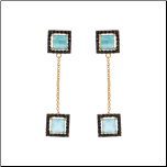 Gold Over Sterling Silver Blue CZ Dangling  Earrings