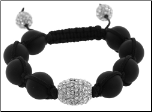 12mm Cotton Bead Crystal & Black Onyx Adjustable Bracelet