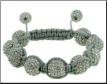 12mm Cotton Adjustable  Macrame Silver  Crystal Bead Bracelet