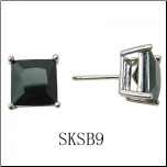 Unisex Sterling Silver and 9mm Princess Cut CZ Post Back Earrings
