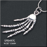 "Sterling Silver Skeleton Hand Pendant and 20"" Chain"