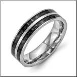 6mm Stainless Steel Ring with Double Rows of Black Carbon Fiber