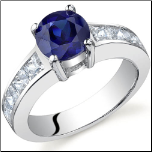1.75 CT Round Sapphire and Princess Cut CZ Sterling Silver Ring