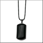 "30"" PVD Black Stainless Steel & Black Agate Dog Tag Pendant & Chain"