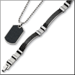 Stainless Steel and Black Carbon Fiber Necklace and Bracelet Set