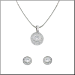 Sterling Silver and CZ Pendant and Earring Set