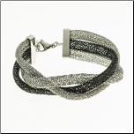"6+1"" Braided Mesh Stainless Steel Bracelet in Silver & Ip Black"