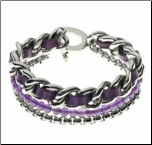 "7"" Contemporary Stainless Steel, Leather,& Bead Toggle Bracelet"