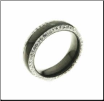 6mm Black Ceramic and CZ Ring