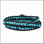 4mm Dyed Turquoise Bead Leather Cord Wrap Bracelet