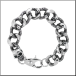 "10"" Inox Custom Crafted Stainless Steel Skull Link Bracelet"