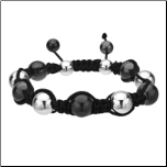 10mm Inox Stainless Steel and Black Hematite Adjustable Bracelet