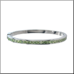 "6.75"" Inox Stainless Steel and Peridot CZ Hinged Bangle Bracelet"