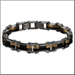 "8"" Inox Stainless Steel Double Sided Ip Gold&Black Reversible Bracelet"