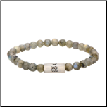 6mm Labradorite Gemstone Stretch Bracelet with Steel Accent