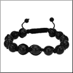 10mm Black Agate Ajustable Macrame Bracelet