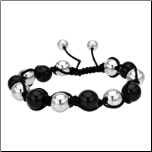 10mm Stainless Steel &PVD Black Adjustable Macrame Bracelet