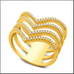 "Gold Vermeil and CZ 4 ""V"" Chevron Ring"