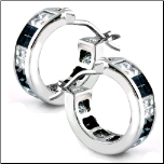 15mm Sterling Silver Hoop Earrings with Black & White CZS