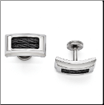 Edward Mirell Titanium Cufflinks with Black Steel Cables