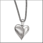 "16+2"" Edward Mirell Titanium Puffy Heart Pendant&Stainless Steel Chain"