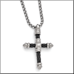 "20"" Edward Mirell Titanium Cable Cross Pendant Necklace"