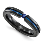 4mm Edward Mirell Black Ti, Sapphire and Blue Anodized Band